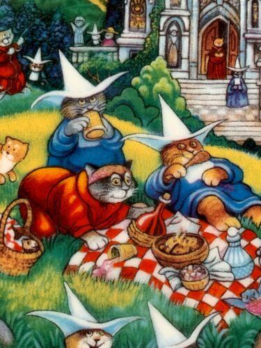 "Cat Art Plate ""Purrfect Picnic "" Bill Bell 24k Gold Trim 8"" Franklin Mint"