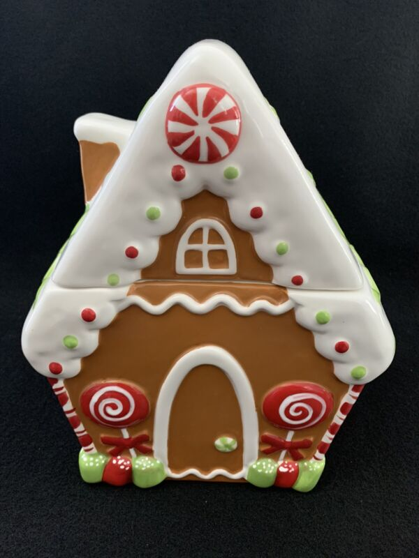 Gingerbread House Cookie Jar Sleigh Bell Bistro Canister Christmas New!