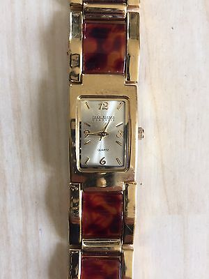 Joan Rivers Classics Collection Watch In Gold Tone With Amber Tone Strap