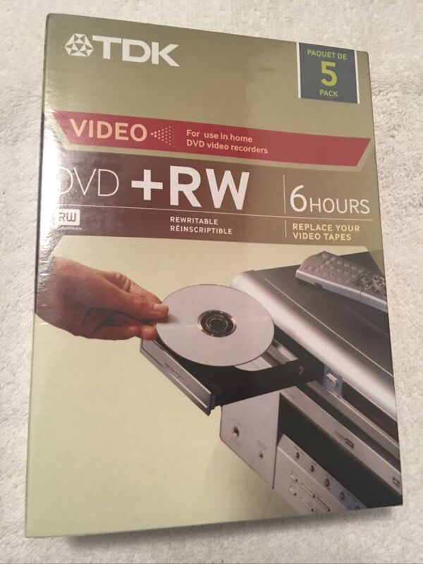 New Sealed  DVD+RW 4X 4.7GB Home Video Recording ReWriteable DVD 5-Pack