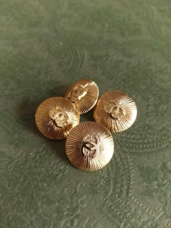 STAMPED VINTAGE CHANEL BUTTONS Set of 4 LOGO 18mm gold