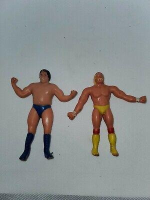 """HULK HOGAN Andre the giant WWE WWF 1986 Vintage LJN BENDIES Bend Ems 4"""" Figure"""
