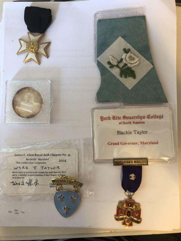 Masonic Token Coin Medal w Ribbons Pins Maryland 1980's