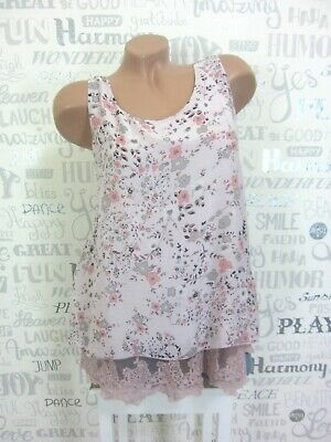 Bluse Shirt Top Trägertop Tanktop Lagenlook Blumen Spitze  36 38 40 Rosa E664 - Rosa Bluse Shirt