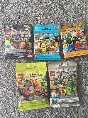 Lego Minifigures Sealed Lot.  Series 14,17,18,19,20.  1 Random Figure From Each