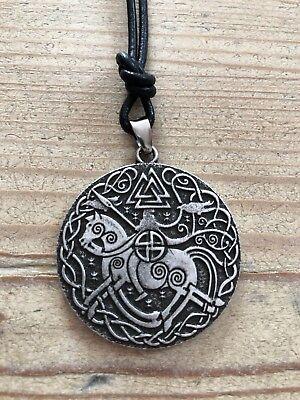 Odin auf Sleipnir Odinsknoten K6  Valknut Raben Götter Kette Lederband Runen