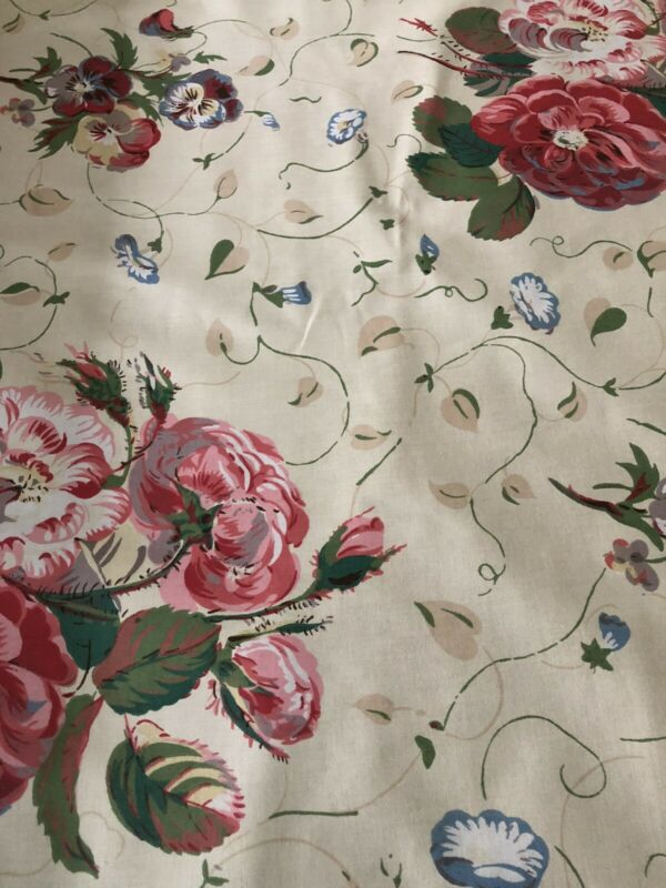 Cowtan & Tout Colefax & Fowler Roses And Pansies Glazed Cotton Chintz BTY NEW