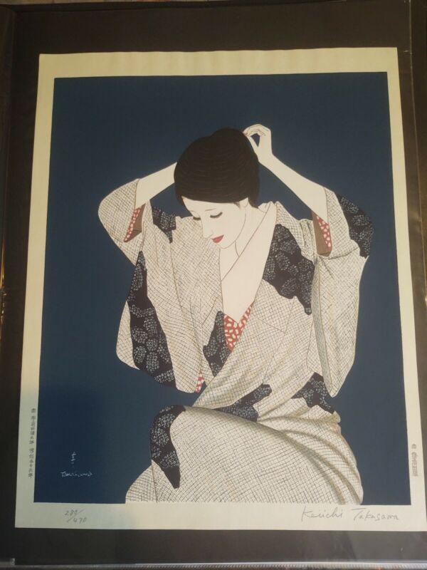 "Takasawa Keiichi Woodblock Print ""Hair"""