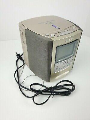 Sony Dream Machine ICF-CD863V CD Alarm Clock TVWeather AM/FM Radio Player tested