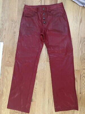 Vintage 80s 90s Red Patent faux Leather  Pants Women's Sz  M L 32 prop costume