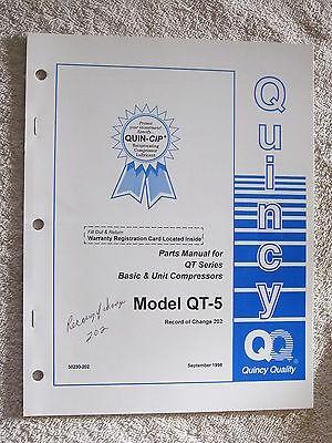 1998 Quincy Qt Series Mod. Qt-5 Basic Unit Compressors Parts Manual 50230-202