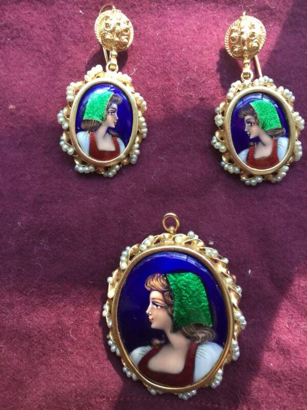 Antique14k French Paillon Enamel Seed Pearl Pierced Earrings & pendant brooch