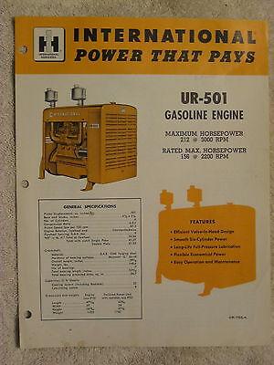 1950s Ih International Harvester Ur-501 Stationary Gas Engine Brochure