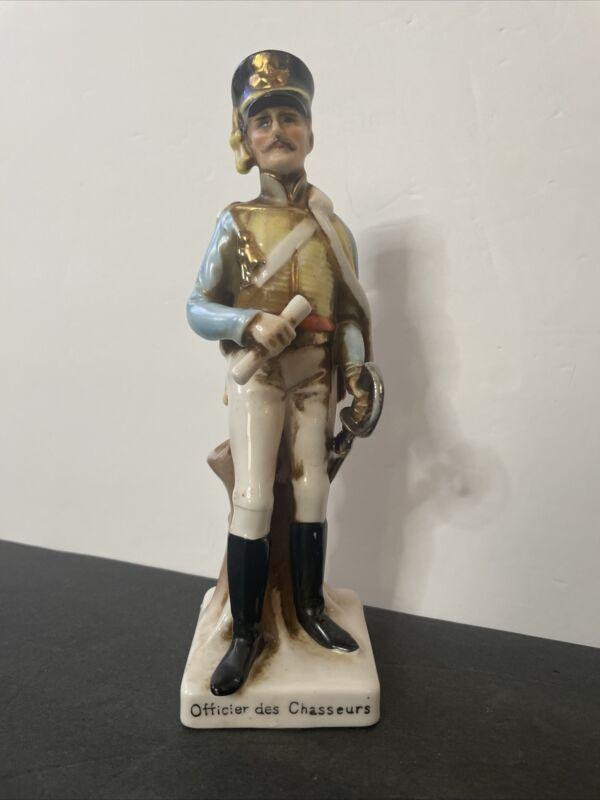 Vintage Military Porcelain Figure - Officier des Chasseurs Signed