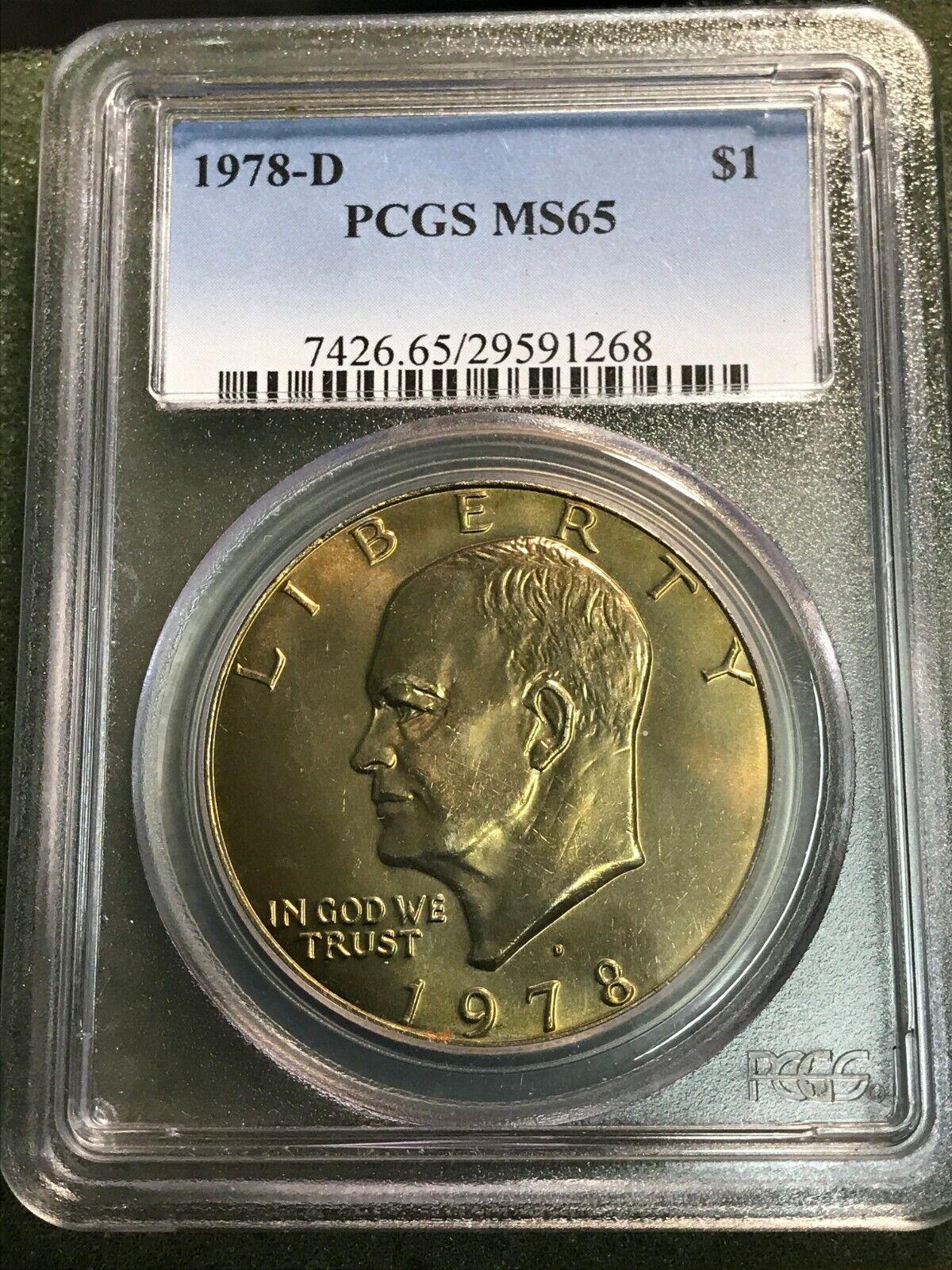 1978-D Eisenhower Dollar PCGS MS65 Light Golden Toning - $19.09