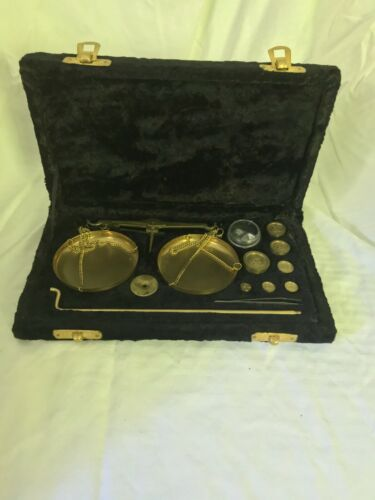 Vintage Jewelers or Apothecary Brass Travel Scale Made in India
