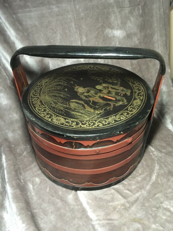 Antique Chinese Wooden Wedding Basket Hangchow Lacquer C1860