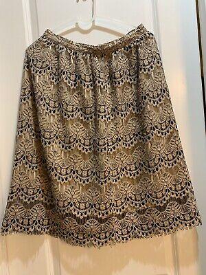 MAISON JULES Women's Brown And Black Floral Lace Midi A-Line Skirt Size Medium
