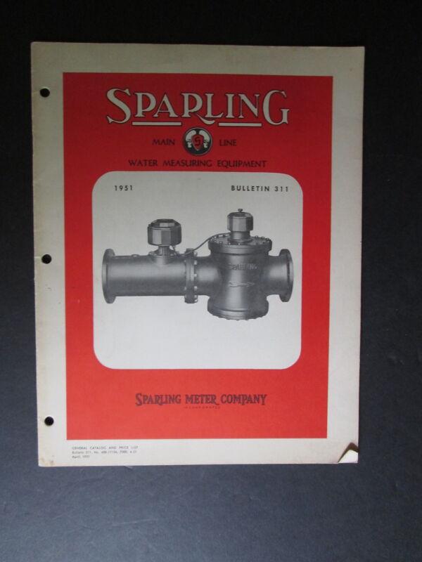 1951 Spalding Main Line Water Measuring Equipment Bulletin Water Meter Co
