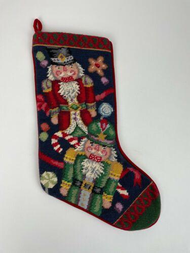 Vintage Needlepoint Embroidered Christmas Stocking Red Velvet Nutcrackers