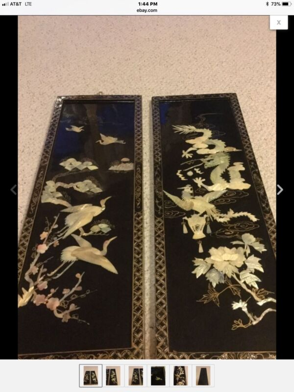 Antique Oriental Floral Birds Mother of Pearl Inlaid Black Lacquer Wall Art. 2pc