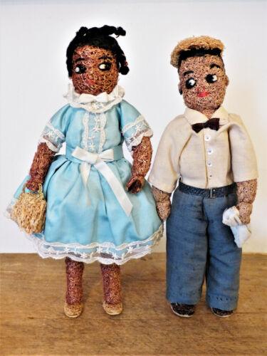 Rare VINTAGE 1940s-50s BLACK AMERICANA Handmade Signed BOY & GIRL Loofah DOLLS
