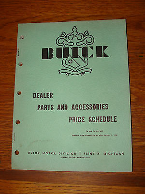 BUICK DEALERS PARTS AND ACCESSORIES PRICE SCHEDULE January 1954