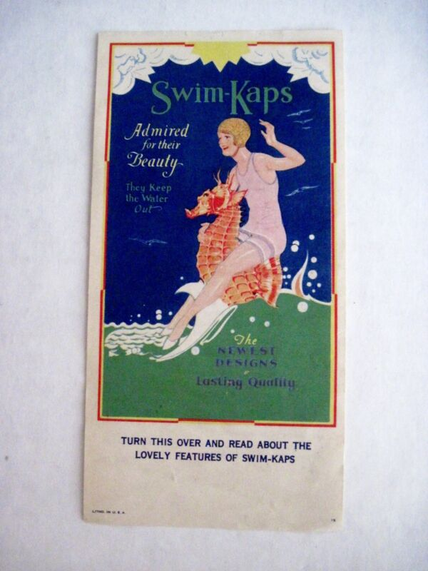 "Fantastic Vintage Advertising Print ""Swim-Kaps""- Seahorse Swimming In Ocean *"