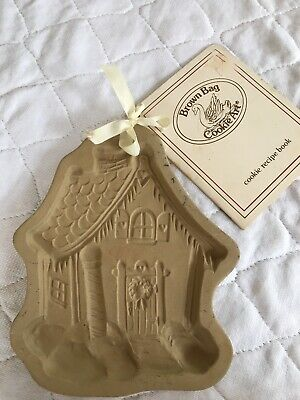 Vtg 1989 Brown Bag Cookie Art Mold Gingerbread House Christmas Stone + Receipe