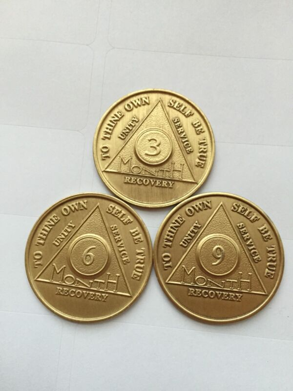 AA Alcoholics Anonymous Medallion Chip Set 3 6 9 Months Coin Coins 90 Days