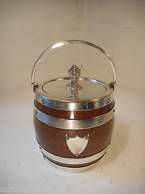 Vintage Oak & Silver Plated Biscuit Barrel  ,   ref 2916