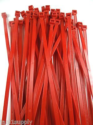 """CABLE TIES WIRE TIES RED NYLON 7/""""  LOT OF 100 NEW MADE IN USA"""