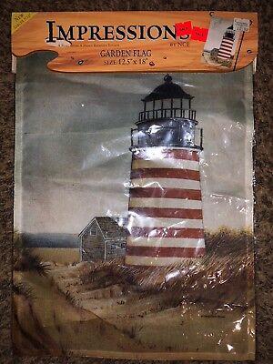 "Warm Lighthouse - 13"" x 18.5"" Impressions Garden Flag"
