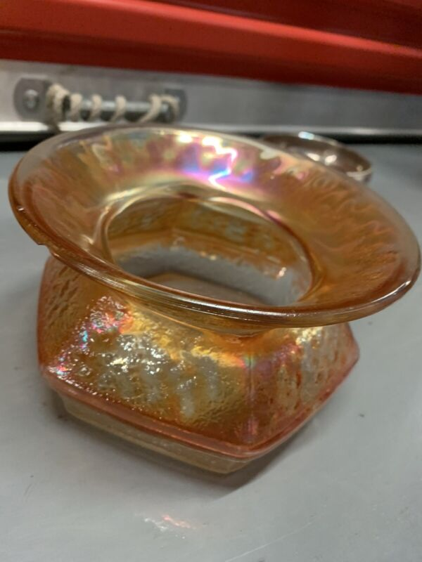 "Rare Orange Antique Carnival Glass Spittoon,w.7"""