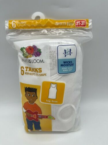 Fruit of the Loom Boys White Cotton Tank Top Undershirt Tag Free 6 Pack 2T-3T