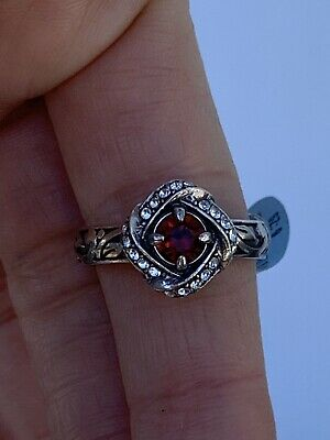 New Brighton Eternity Knot Silver & Red Crystal Ring Size 9 $56 With Gift Bag