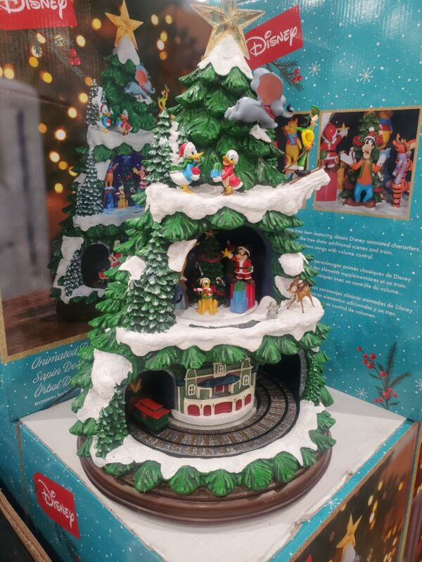 Disney Animated Christmas Tree 8 Holiday Songs Music Lights Mickey Train NEW