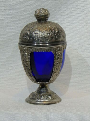 ANTIQUE BLUE GLASS AND PEWTER SILVERTONE CHALICE COMPOTE DISH  URN ART NOUVEAU