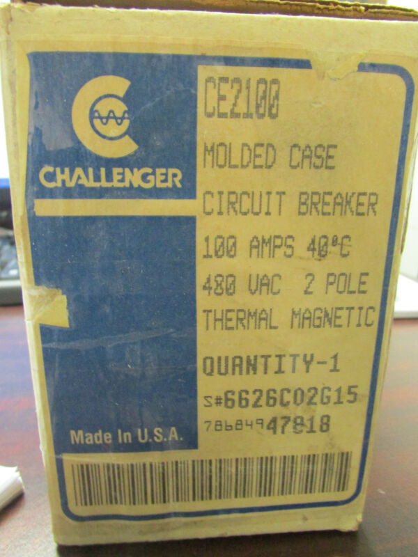 CHALLENGER CUTLER HAMMER WESTINGHOUSE CE2100 Molded Case Circuit Breaker 100A