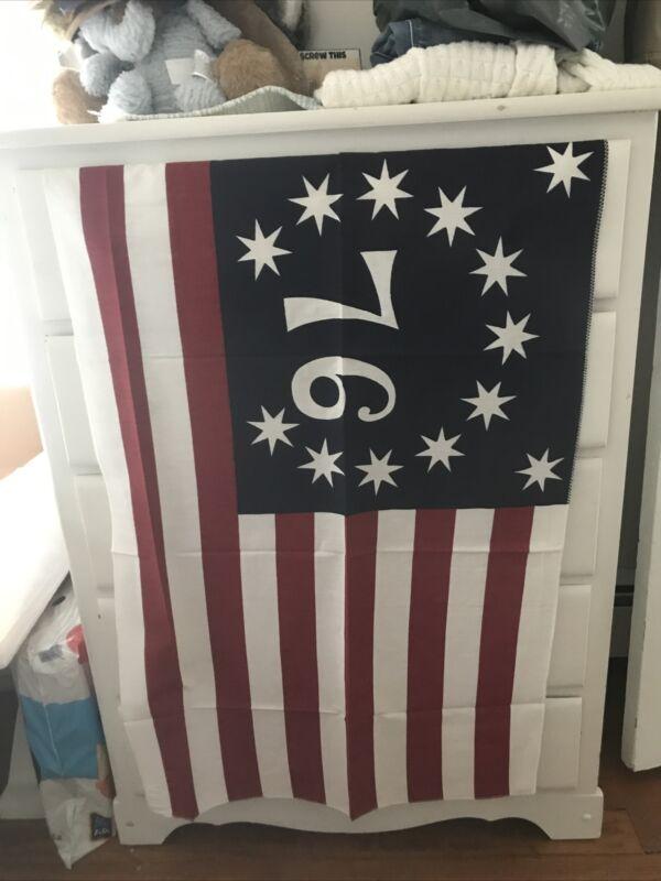"BENNINGTON 13 STAR BICENTENNIAL AMERICAN FLAG 1776 FABRIC 24""×36"" VINTAGE"