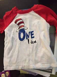 Cat in the hat shirt and high chair banner