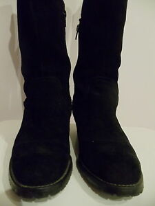Le-Saunda-Suede-Leather-Boots-Black-Size-Eur-37-US-6-5-UK-4-5-Used