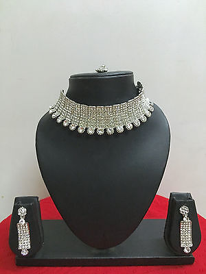 Indian Designer Bollywood Silver Plated Fashion Bridal Jewelry Necklace Set