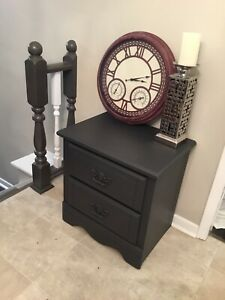 Freshly refurbished night/side table dark gray. Delivery.