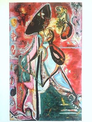 "JACKSON POLLOCK ABSTRACT EXPRESSIONIST LITHOGRAPH PRINT ""THE MOON - WOMAN"" 1942"