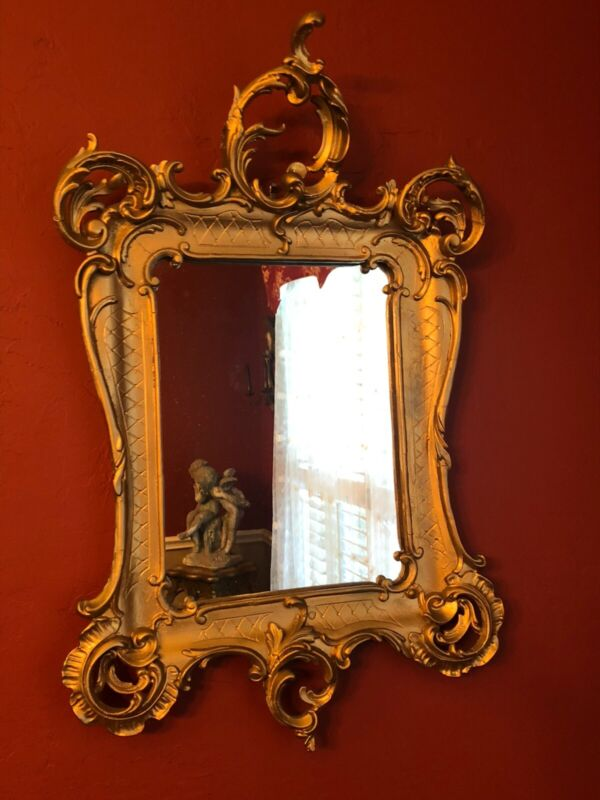 *Vintage Large Carved MIRROR GOLD Gesso Antique ORNATE Wall GORGEOUS!
