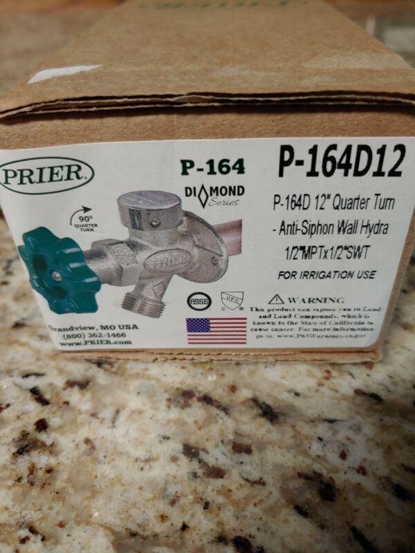 """Prier P-164D12,  1/2"""" MPT x 1/2"""" Sweat Handle-Operated Freeze less Wall hydrant"""