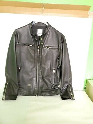 Diesel Black Sheep skin Leather Cafe Racer Racing Jacket Mens 36-38 Italy