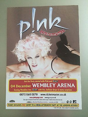 P!NK - PINK - 1 x 2006 I'M NOT DEAD UK TOUR FLYER FOR WEMBLEY ARENA (SIZE A6)