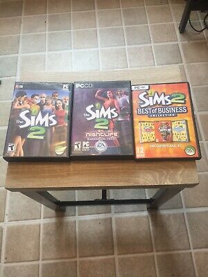 Sims 2 PC Game Lot of Game And 4 Expansion Packs Best Of Business &